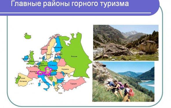 Главные районы горного туризма